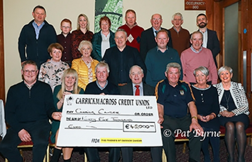 The Friends of Carrick Cancer present €45,000 raised last year.
