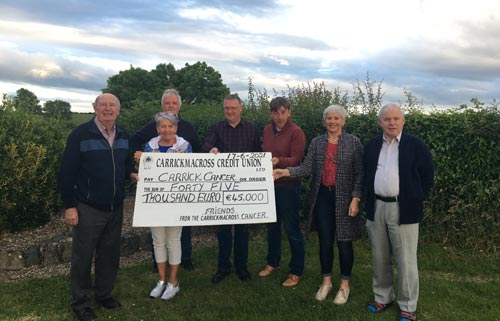 the Friends of Carrick Cancer, Pat Mc Nally, Padraig Ruth and Frank Mc Donald presenting a cheque to Committee Members of Carrickmacross Cancer Society Michael Mc Mahon, Pauline O' Hagan, Pauline Fox and Pat Drury.