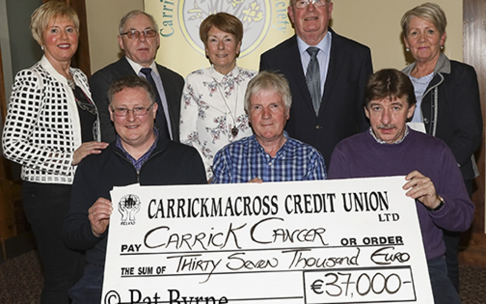 The Fundraising Organisers of Friends of Carrick Cancer; Paraic, Pat and Francis presenting the proceeds of their 2017 fundraising to the CCS General Committee.