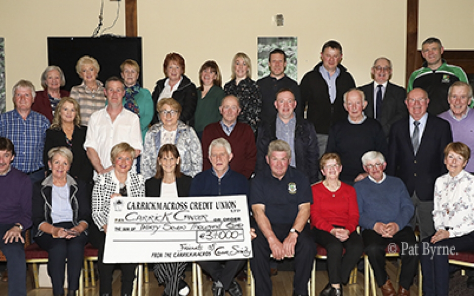 The Friends of Carrick Cancer and many of their fundraisers 2017, presenting a cheque of €37,000.