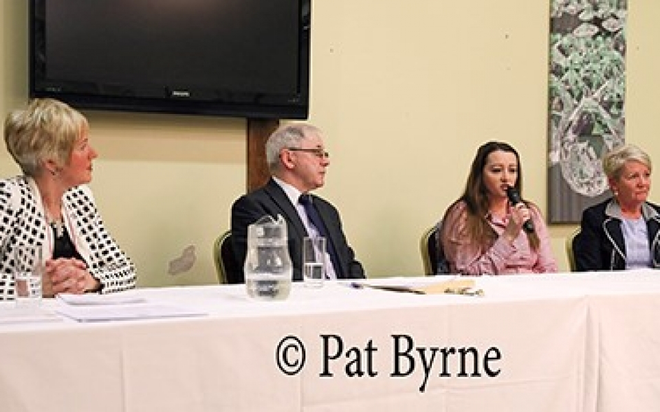 Guest Speaker Grainne Coogan with Pat Drury, Pauline Fox and Pauline O'Hagan at CCS Public Information Meeting 2018.