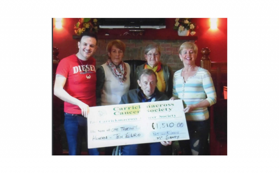 Pat and Marie Mc Givney present 50% of the proceeds of a fundraising dance in Lisdoonan to CCS and 50% to MS.