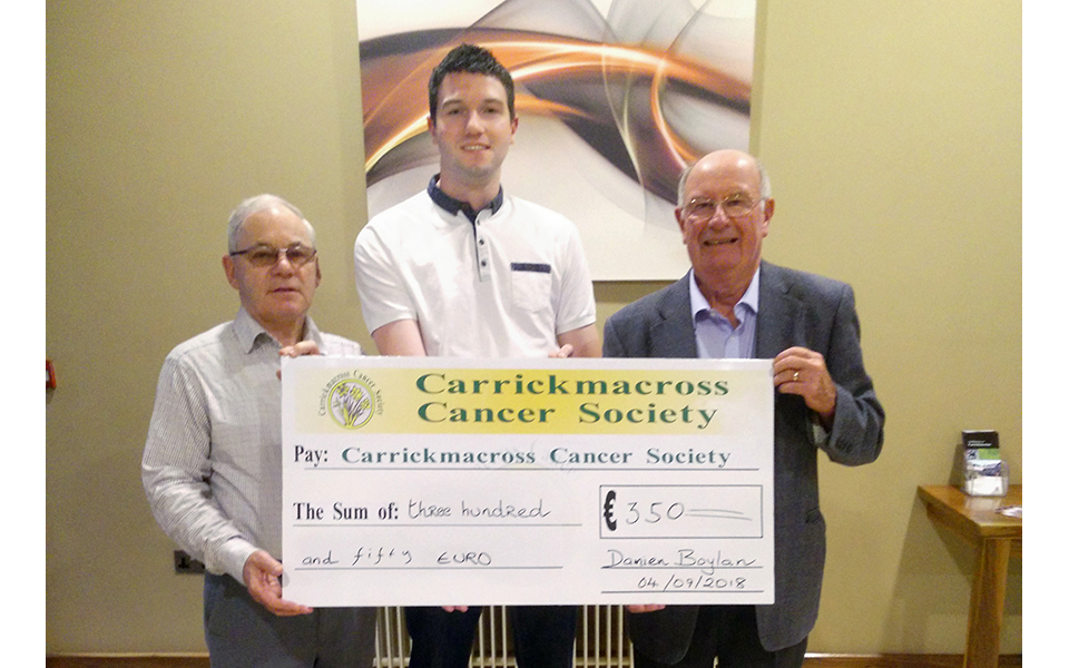 Pat, Damien and Michael and in the Shirley Arms on Tuesday 4th September 2018. Damien raised €350 through the 2017 Roses and Escorts from the Rose of Tralee.