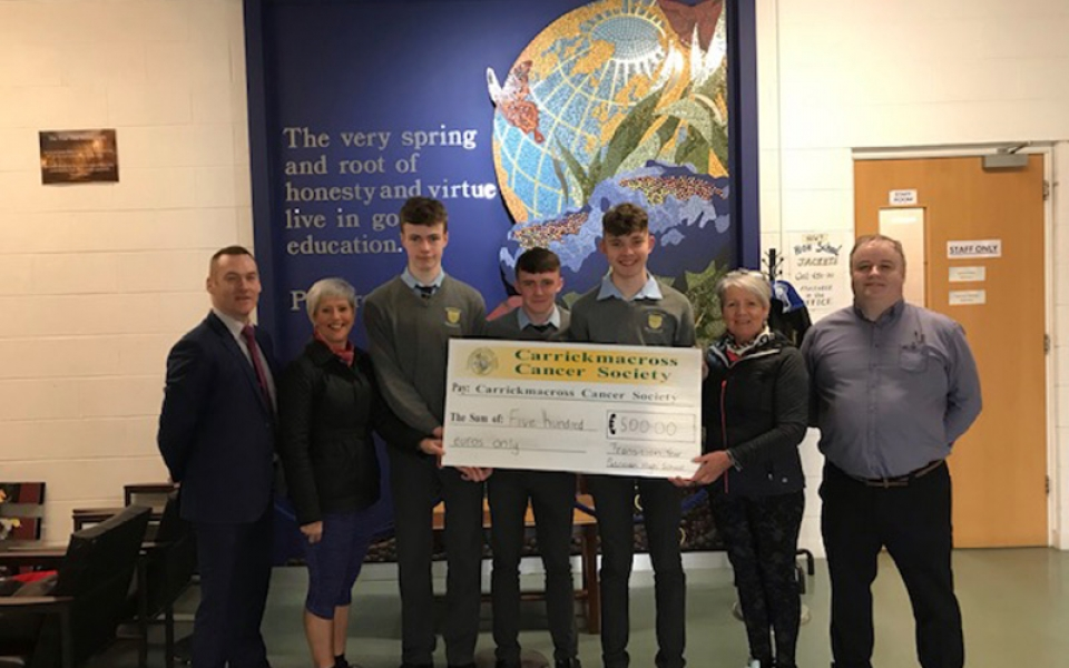 High  School Transition Year Students with their Principal and Transition Year Coordinator present to Pauline Fox and Pauline O' Hagan